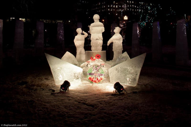 ice sculpture shot of canadian soldiers