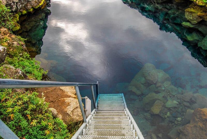 diving in Iceland stairs leading to Silfra Fissure