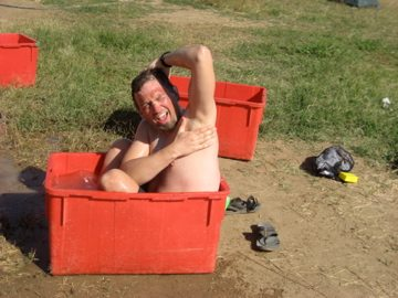 Dave Bathing in the Dongola Zoo, Sudan