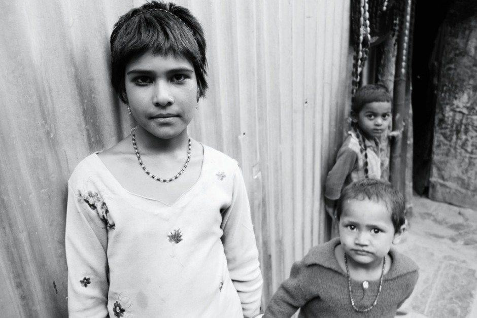 india children black and white