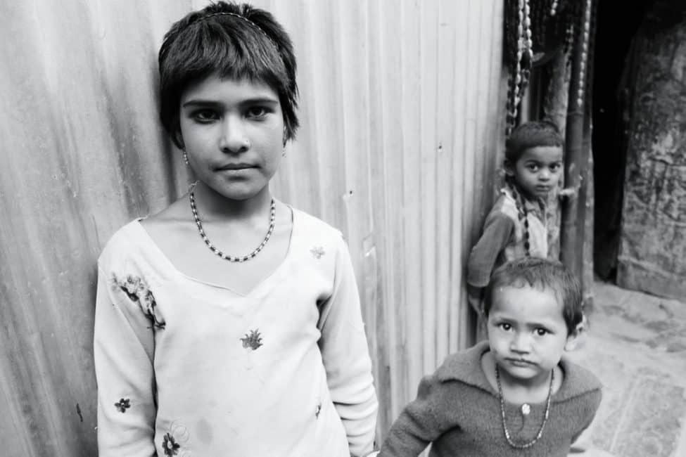 india children black and white