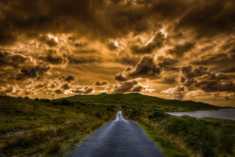 ireland pictures clouds on road