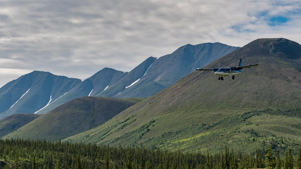 plane coming into Ivavik National Park