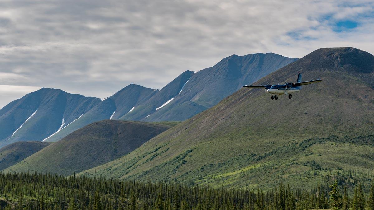 plane coming into Ivavik National Park