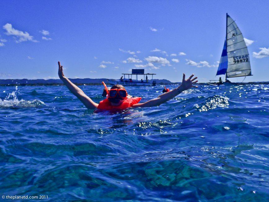 snorkelling jamaica from catamaran