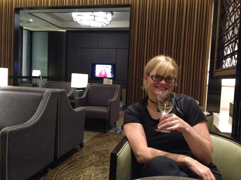 deb in travel lounge