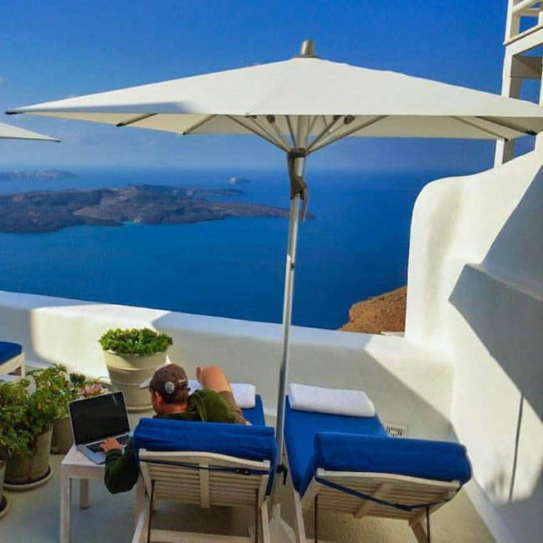 laptop in greece travel