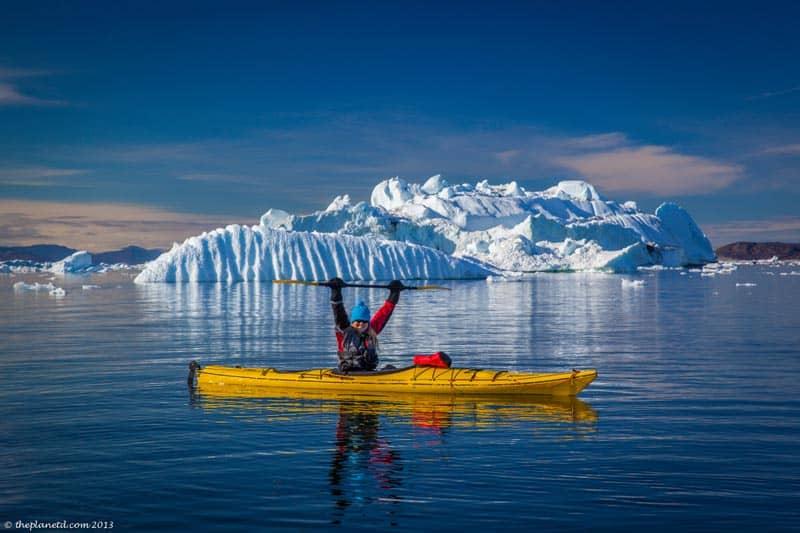 kayaking in greenland near icebergs