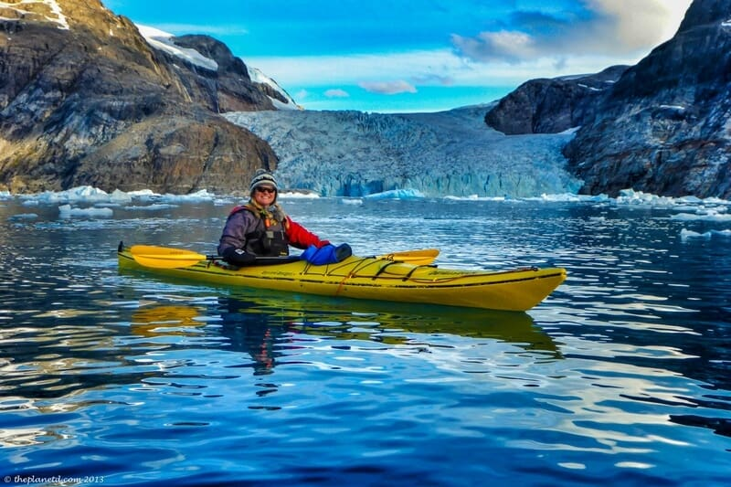 Greenland kayaking near glaciers