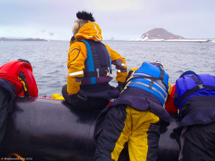 getting in Kayak from Zodiac in Antarctica
