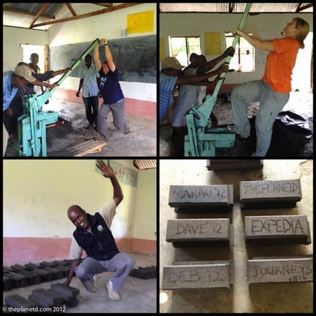making bricks in a remote village of Kenya