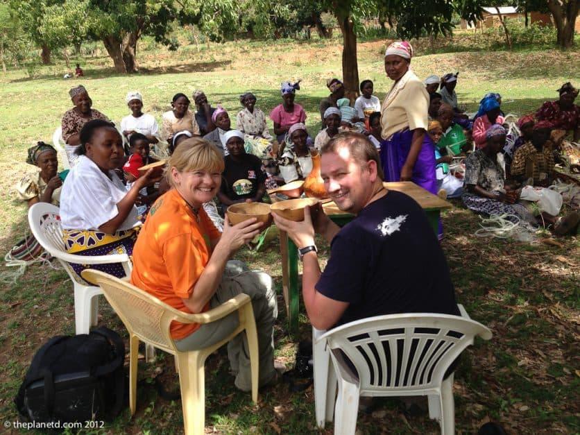 women meeting in a rural Kenya village