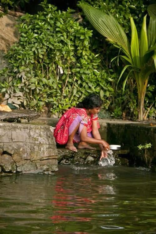woman washing in kerala backwaters