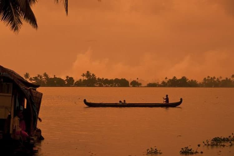 sunset on the kerala backwaters in india
