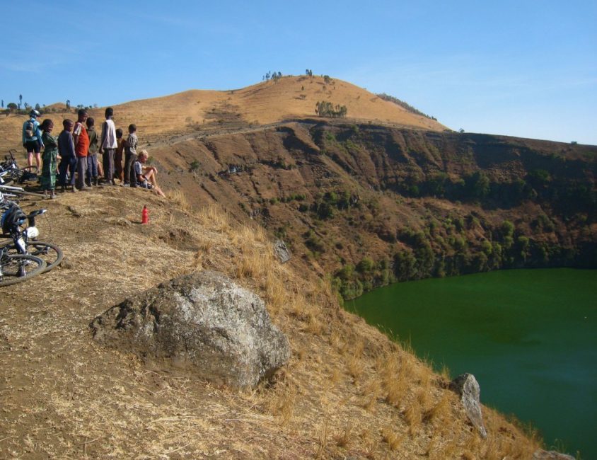 Relaxing at the Crater Lake with Usual Crowd of Children