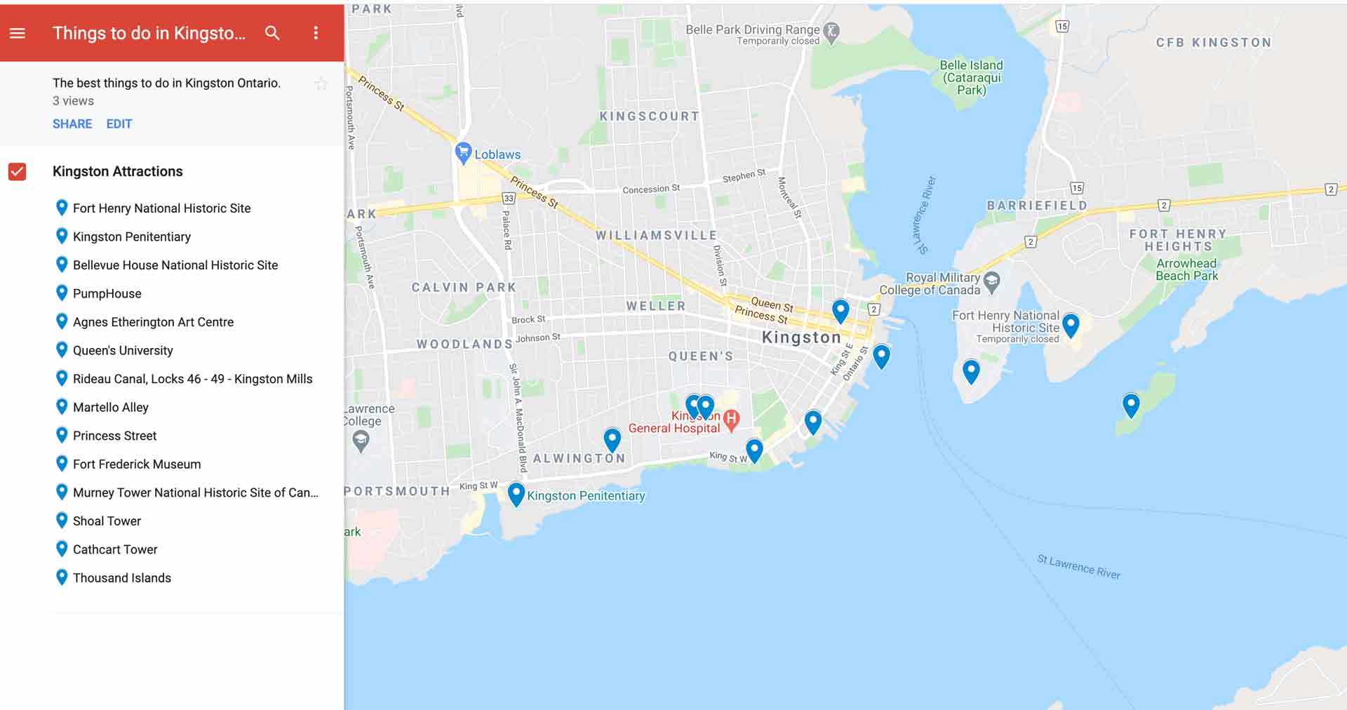 things to do in kingston map