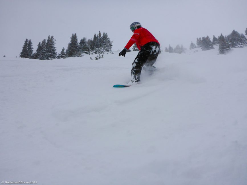 snowboarding in Lake Louise - Dave taking on the Powder