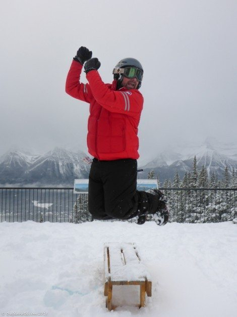 snowboarding in Lake Louise - Dave was jumping for joy about the conditions!