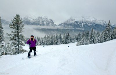 Overlooking the beautiful Rocky Mountains at Lake Louise.