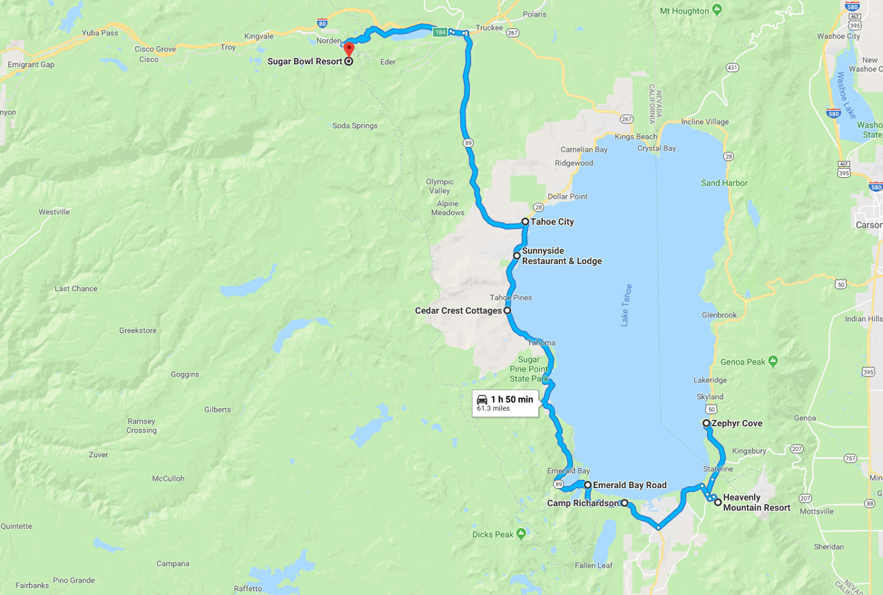 lake tahoe road trip map