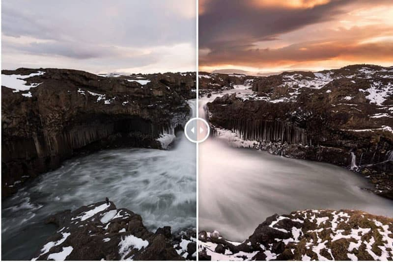 landscape photography tutorial before after