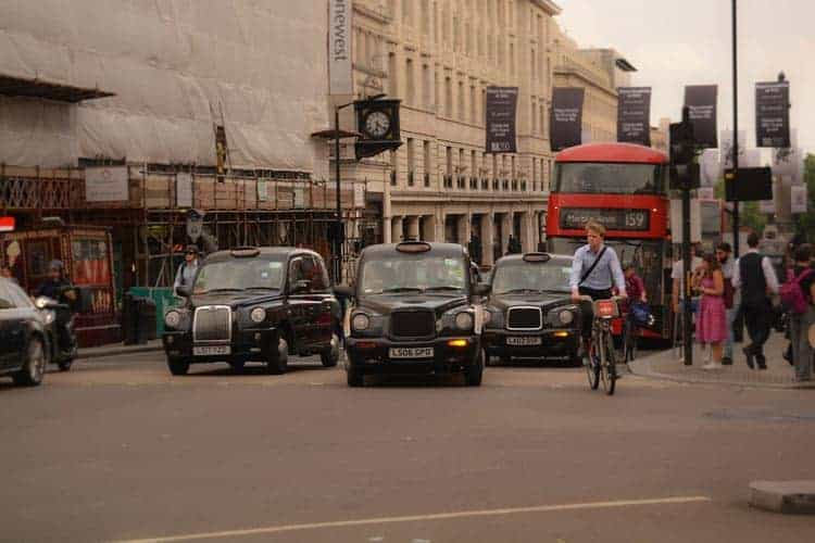 landmarks of london england | black cabs