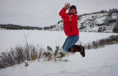 dave jumping in snow