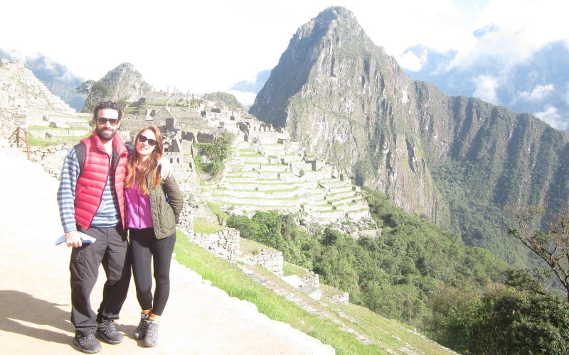 Machu Picchu hike - view of the Machu Picchu terraces and the Citadel