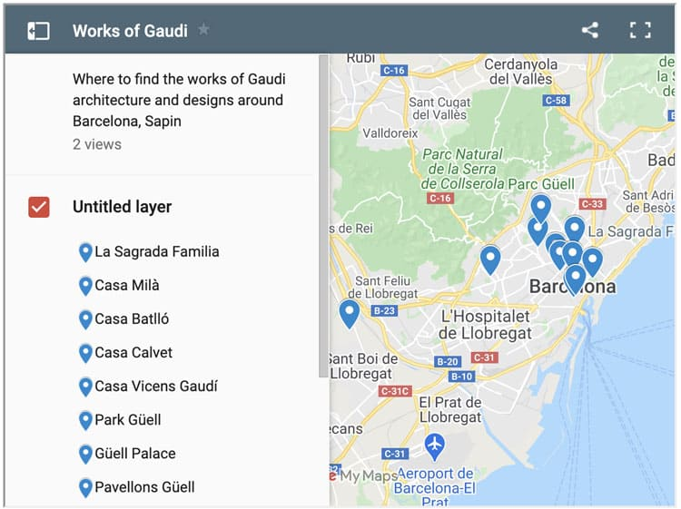 map of the works of Gaudi in Barcelona