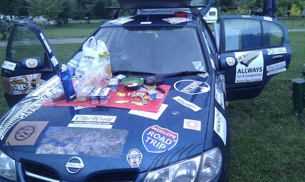 stickers on mongol rally car