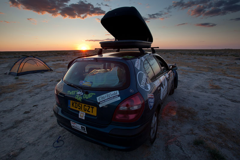 mongol rally sunset