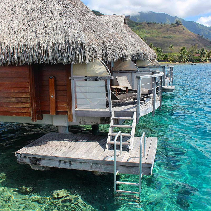 moorea island over the water bungalows