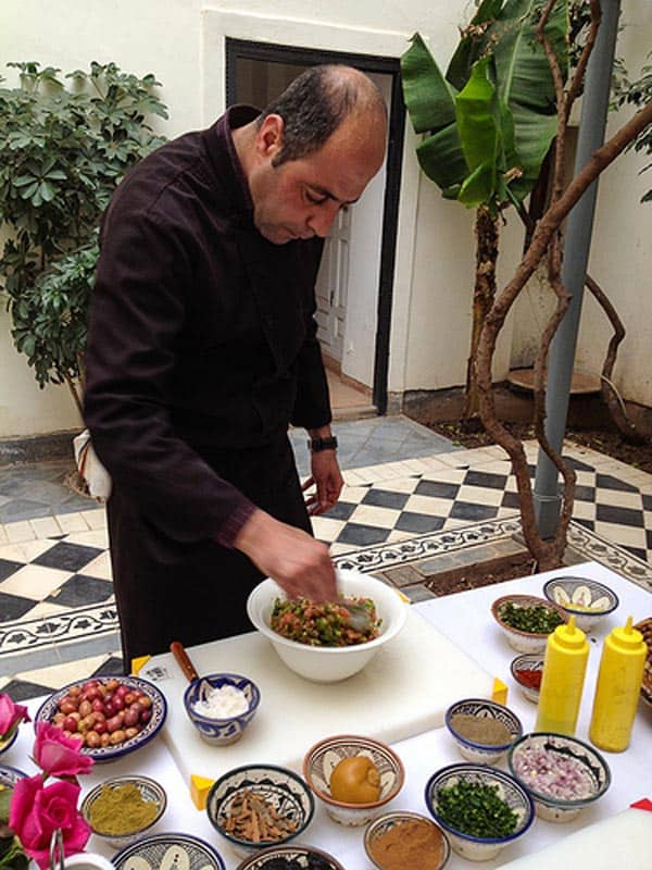 chef cooks moroccan meal
