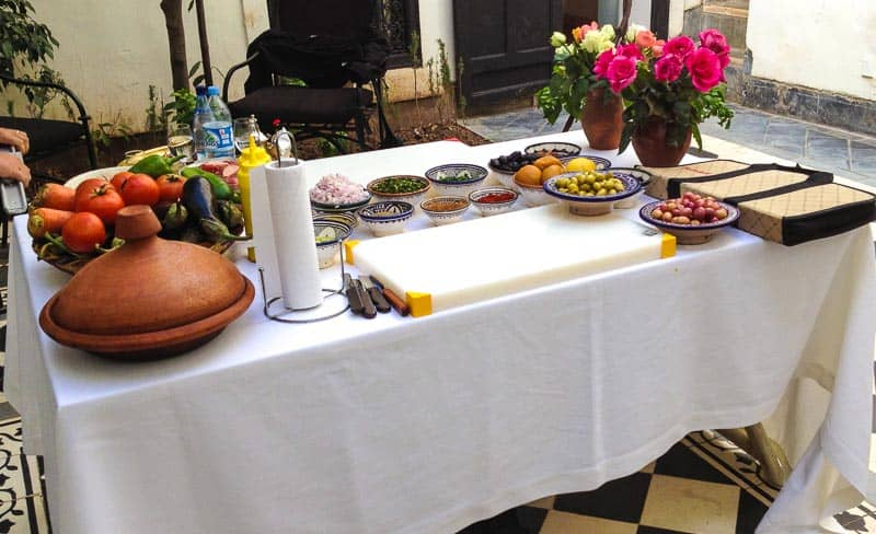 table setting for moroccan meal