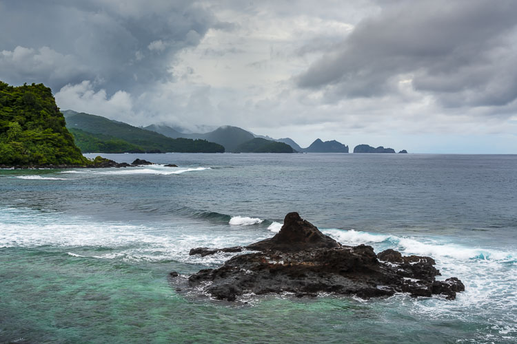 The rugged coast of American Samoa