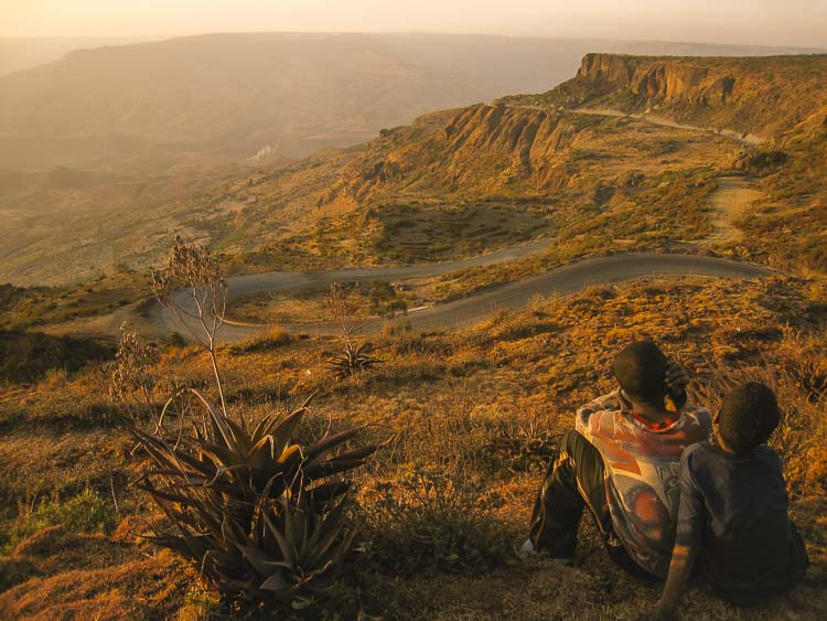 Looking over the isolated landscape of Ethiopia
