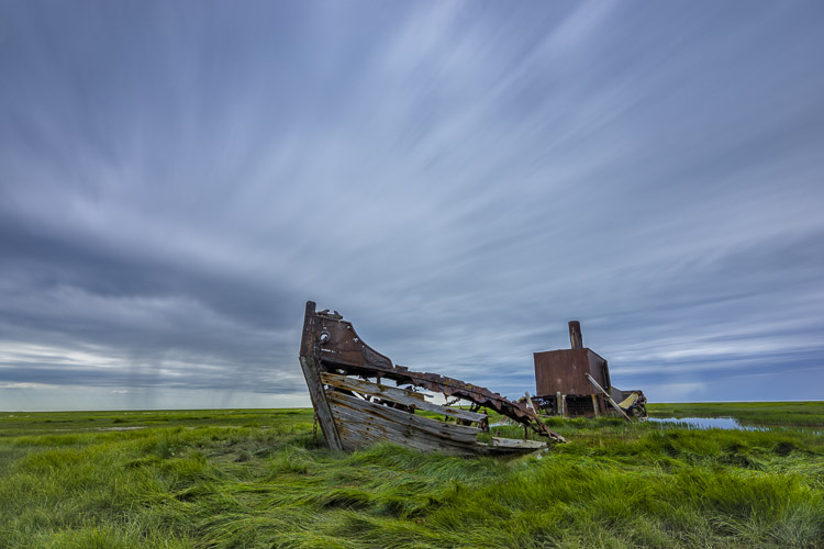 Ols abandoned ship in the desolate landscape of Hudson Bay