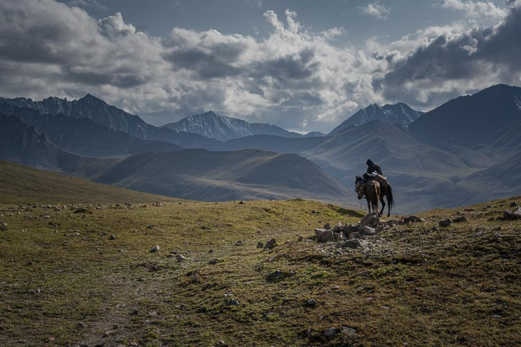 Riding into Boz Uchuk Lake Kyrgyzstan