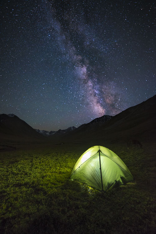 Night falls at the remote Boz Uchuck Lake in Kyrgyzstan
