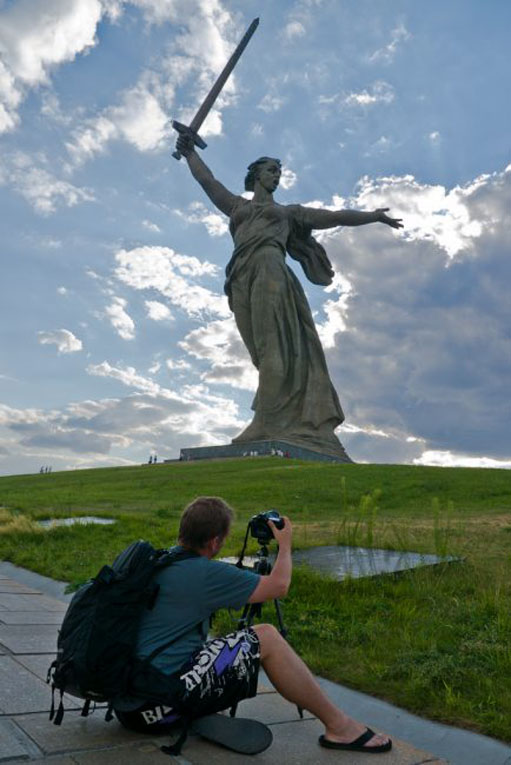 Dave taking a picture of Motherland Calls in russia