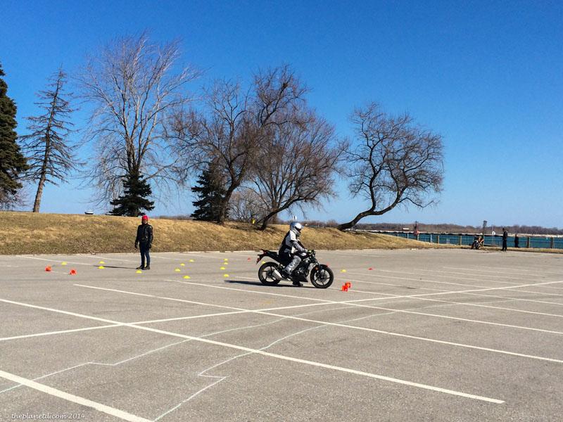 motorcycle around cones