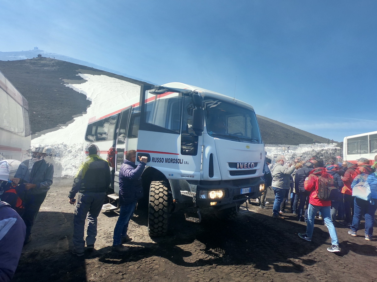 mt. etna truck up to new cable car station