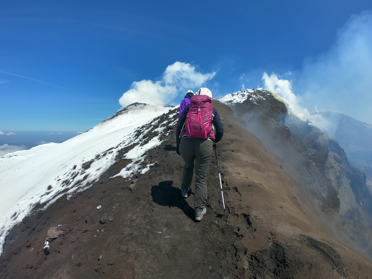 mt etna volcano hike | hikers on crater
