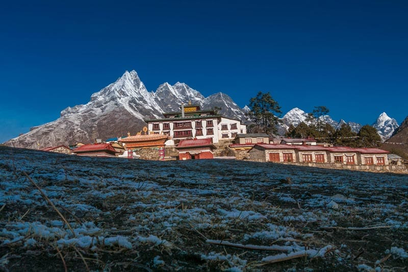 "ebc trek Exterior of Tengboche Monastery"" class=""wp-image-67711"" srcset=""https://theplanetd.com/images/mount-everest-base-camp-trek-monastery-1.jpg 800w, https://theplanetd.com/images/mount-everest-base-camp-trek-monastery-1-600x401.jpg 600w, https://theplanetd.com/images/mount-everest-base-camp-trek-monastery-1-437x292.jpg 437w, https://theplanetd.com/images/mount-everest-base-camp-trek-monastery-1-768x513.jpg 768w, https://theplanetd.com/images/mount-everest-base-camp-trek-monastery-1-272x182.jpg 272w"" sizes=""(max-width: 800px) 100vw, 800px"