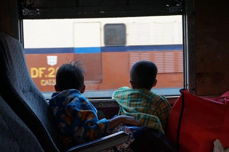 myanmar train travel children