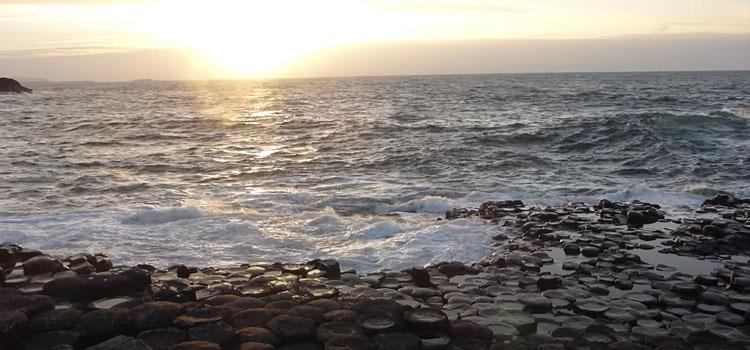 giant's causeway northern ireland at sunset