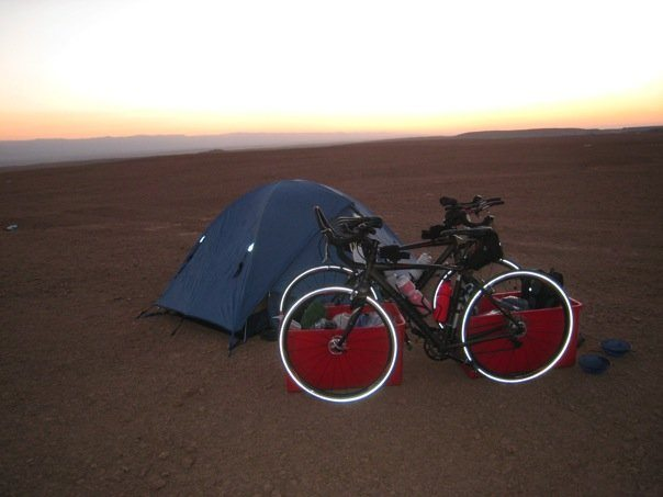 tent and bikes for camping and cycling through Africa