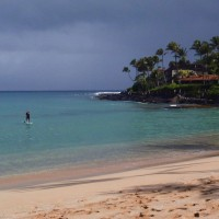 adventure traveler dave stand up paddle boarding in Maui Hawaii