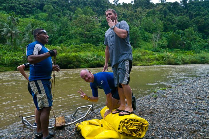 raft on river