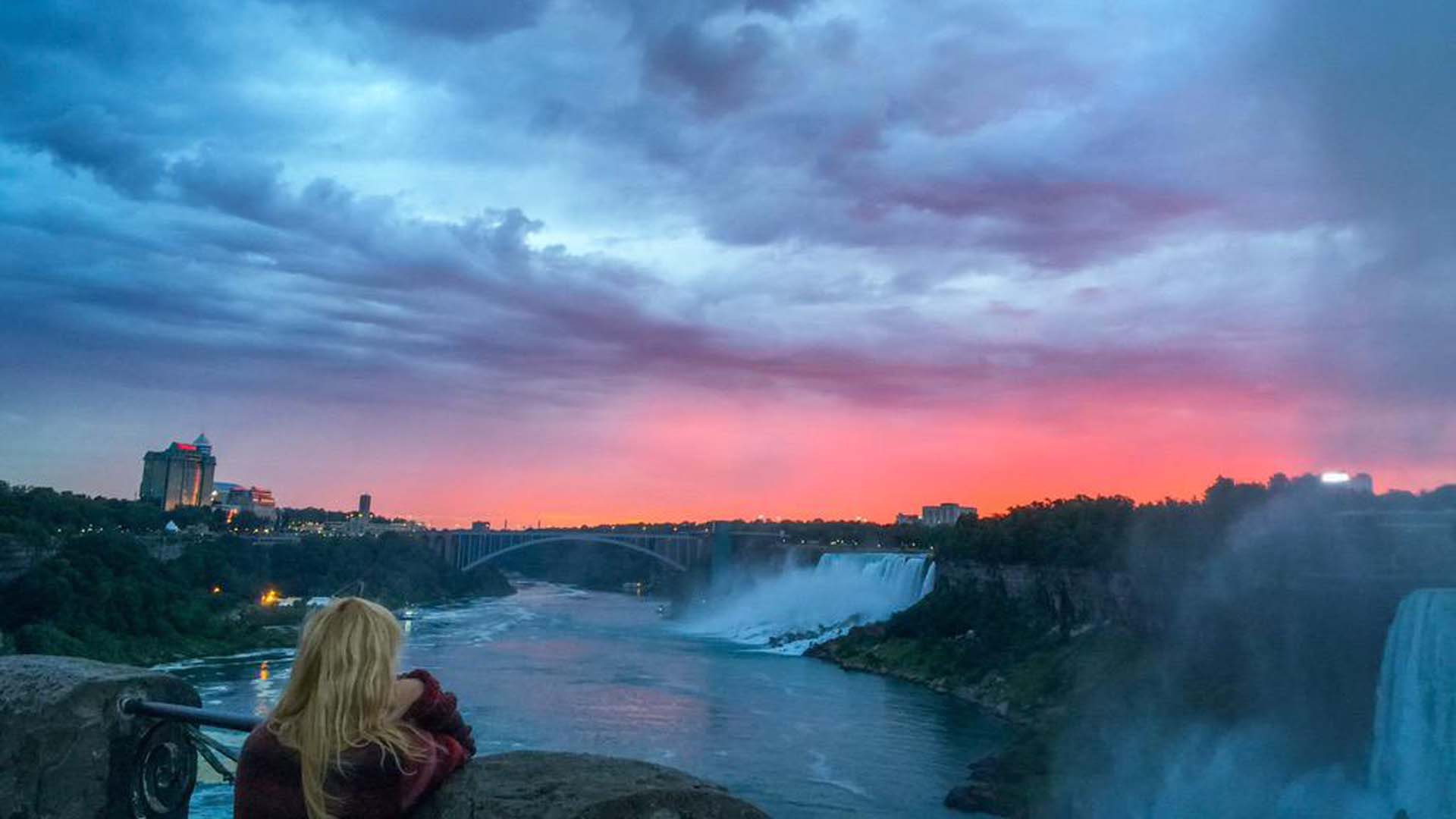 looking over niagara falls